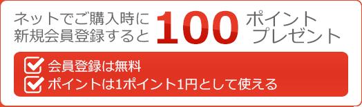 ネットでご購入時に新規会員登録すると100ポイントプレゼント。